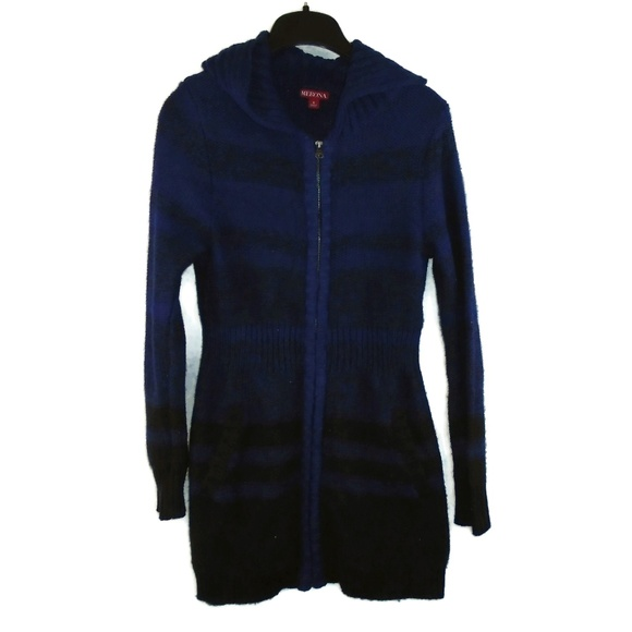 Merona Dresses & Skirts - Merona Sweater Dress Small Blue Black Fitted Mini